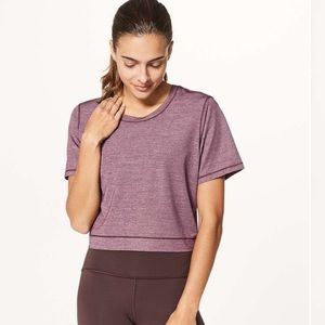 Lululemon Run The Day Heathered Dark Adobe SS Top
